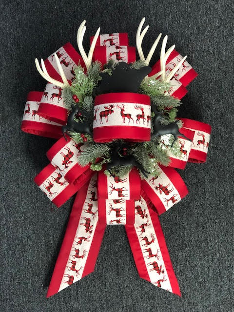Red Reindeer Christmas Bow